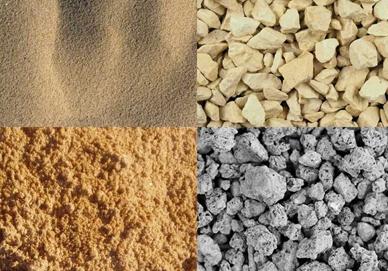 Изображение четырех сыпучих материалов